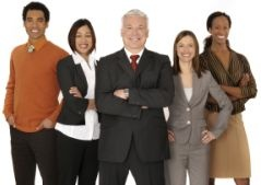 group of confident professional managers