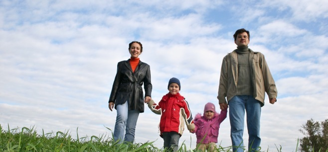 Happy Family Walking - Journey Through Divorce